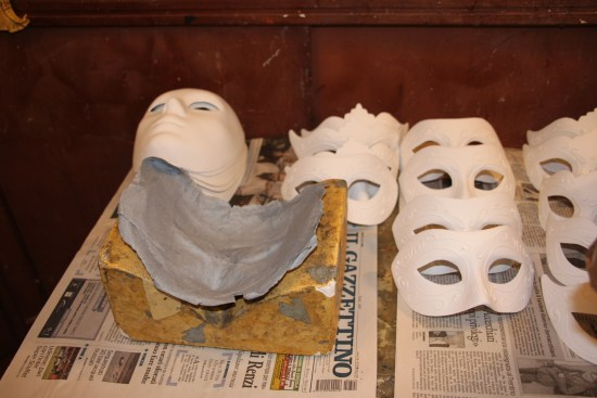 Blank papier mache Venetian masks ready to be decorated