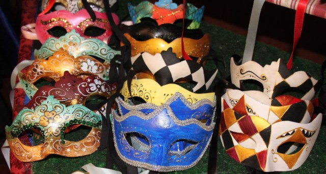 Traditional Venetian carnival masks in the columbina style