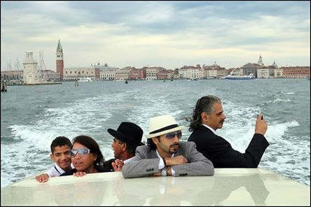Manar, Mona. Ahmad, Abdallah and Alaa arriving for the premiere in Venice