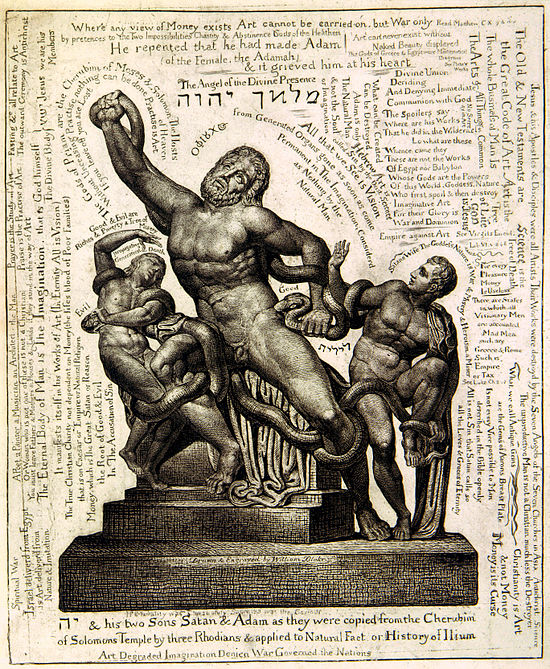 William Blake's etching of Jehovah and his two sons, Satan and Adam