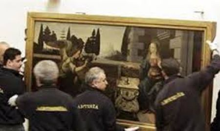 Damaged paintings were removed for restoration