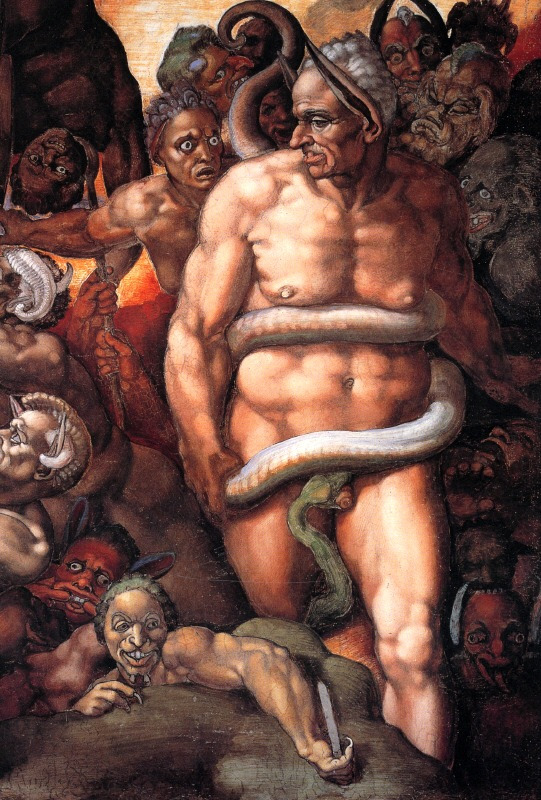 Michelangelo's ddd, Lord of the Underworld in The Last Judgement