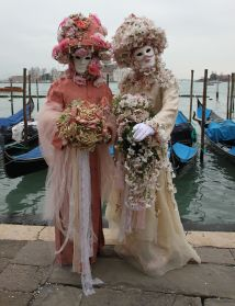 Beautiful belles in front of the Doge's Palace for Venice Carnival