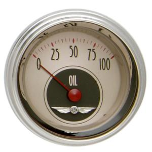 "Classic Instruments All American Nickel - 2-1/8"" Oil Pressure Gauge"