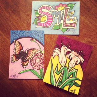 New Artist Trading cards created with India Ink and permanent makers.