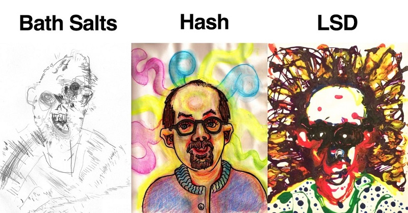 This Guy Got High On 52 Drugs Then Drew These Trippy Self-Portraits