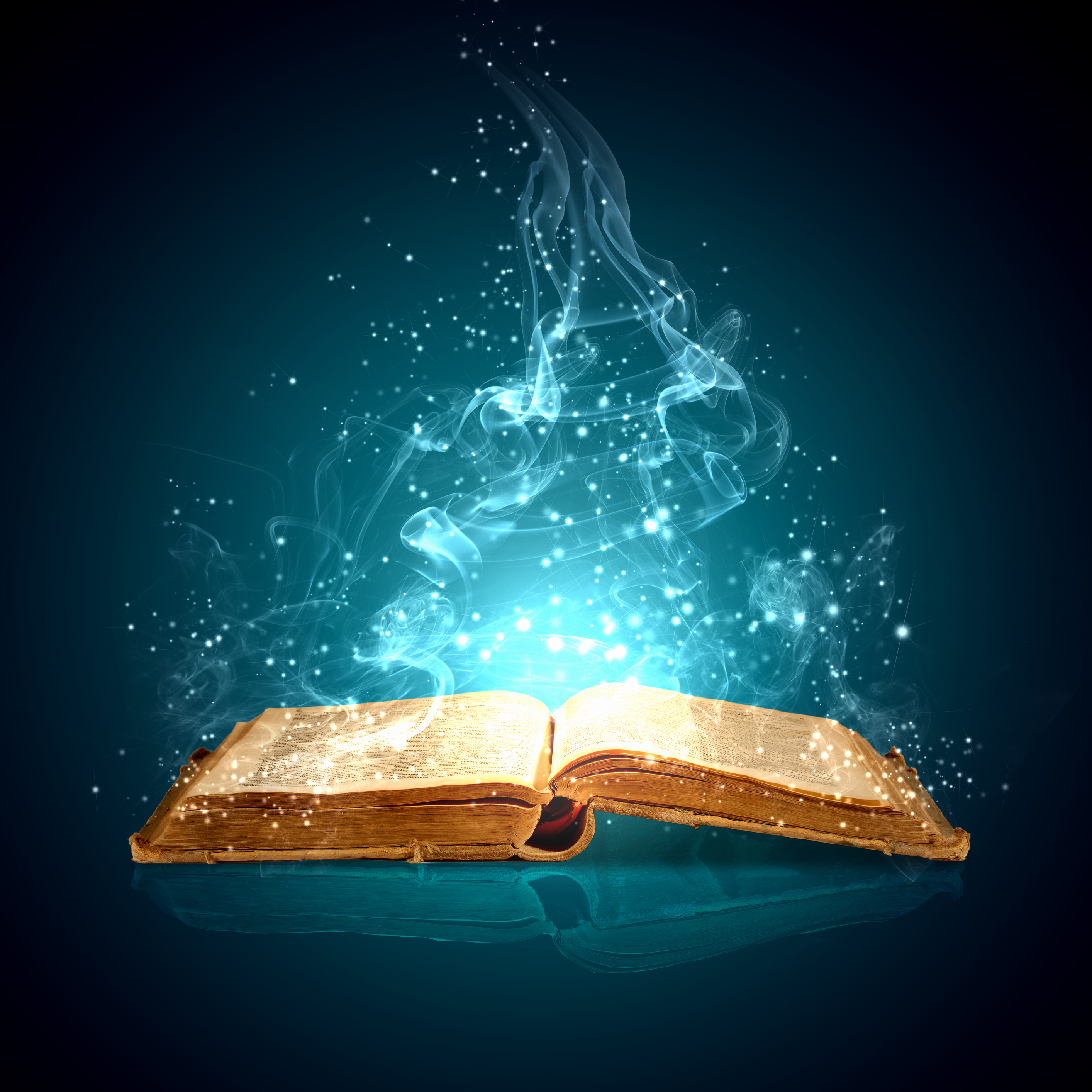 An open book exuding energy and power.