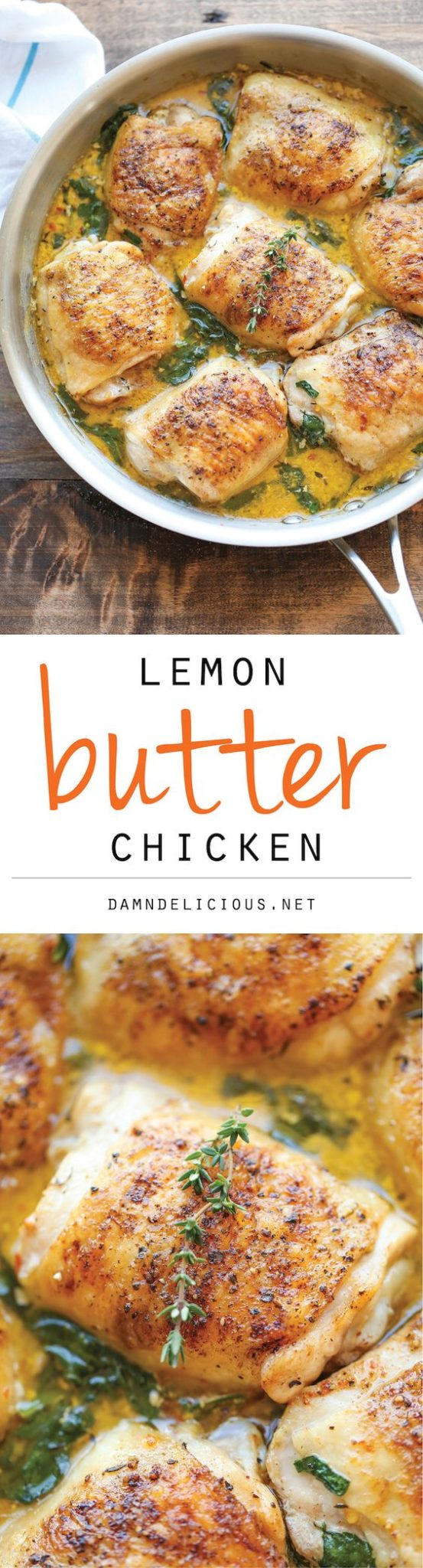 Chicken Recipes - Lemon Butter Chicken - Easy Crisp-Tender Chicken in Creamy Lemon Butter Sauce Recipe via Damn Delicious