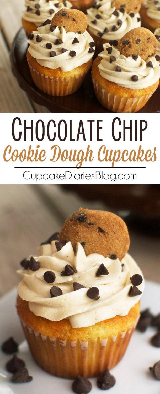 Chocolate Chip Cookie Dough Cupcakes Recipe via Cupcake Diaries Blog