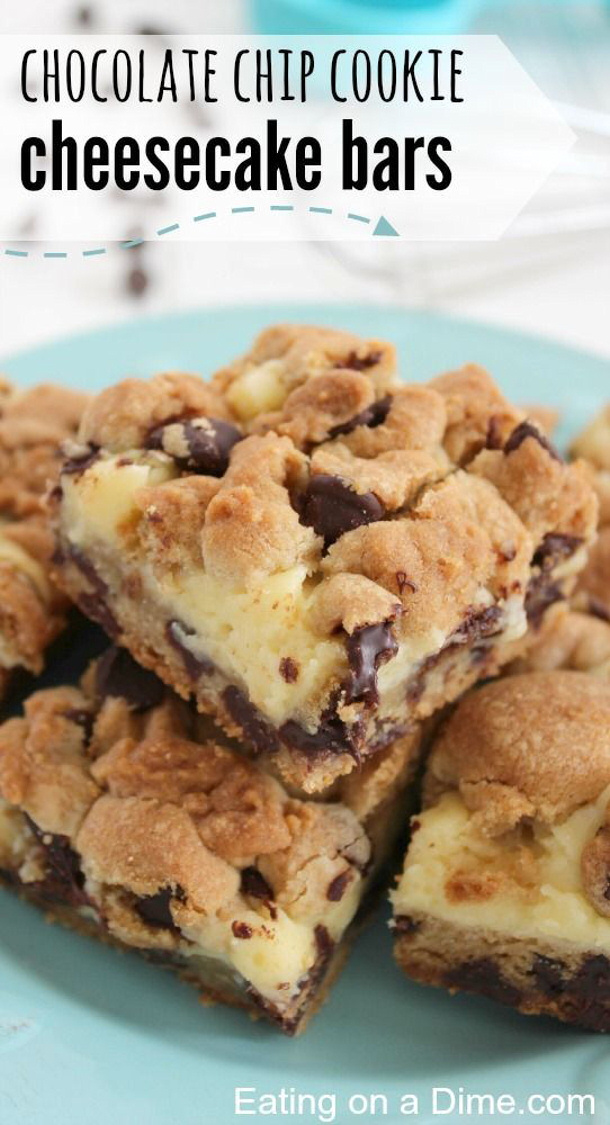 Chocolate Chip Cookies Cheesecake Bars Recipe via Eating on a Dime