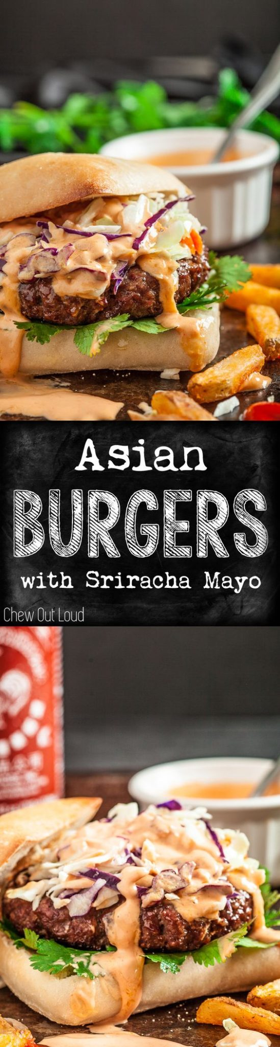 Hamburger Recipes - The BEST Ground Beef Asian Burgers ready for the grill with Sriracha Mayo - Recipe via Chew Out Loud
