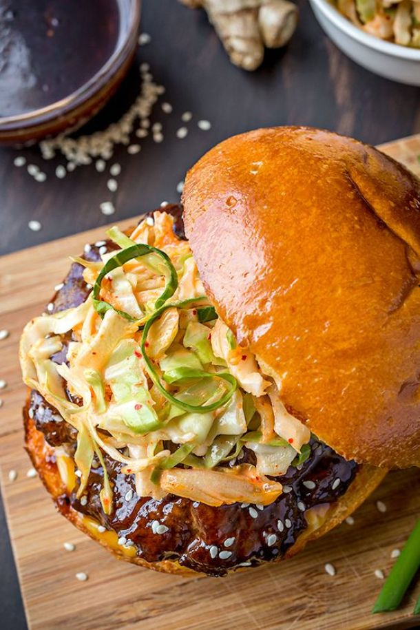 Hamburger Recipes - The BEST Korean BBQ Burger with Kimchi Slaw Recipe - Grab some ground beef and grill this up this weekend - Recipe via The Cozy Apron