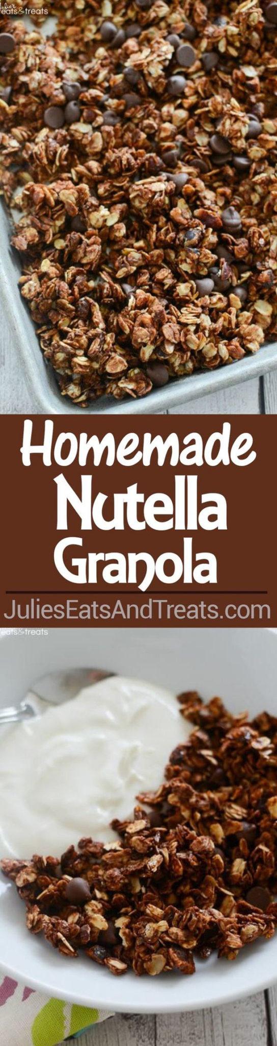 Healthy Snacks - Homemade Nutella Granola Recipe via Julies Eats and Treats