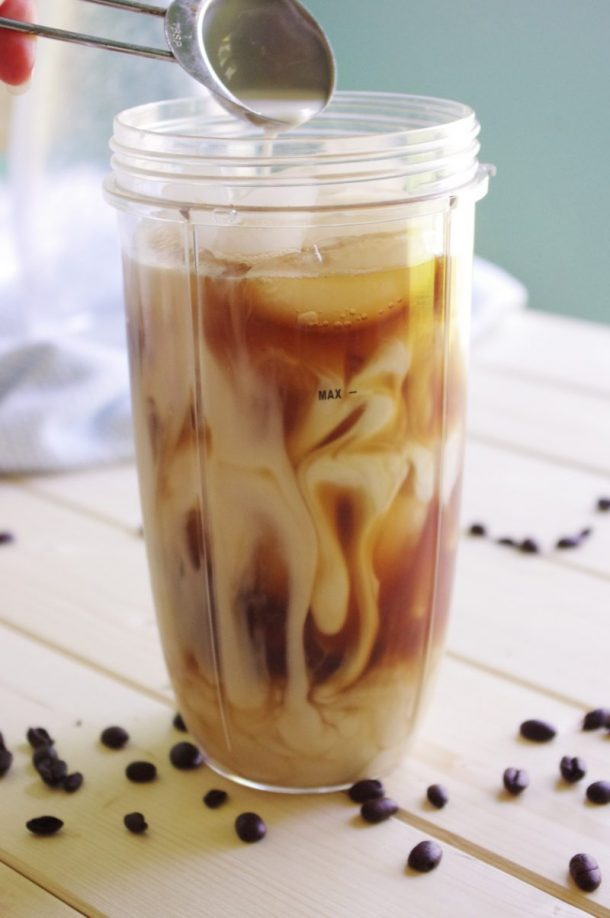 65 Calorie Skinny Caramel Vanilla Blended Iced Coffee Recipe -2 T French Vanilla Creamer