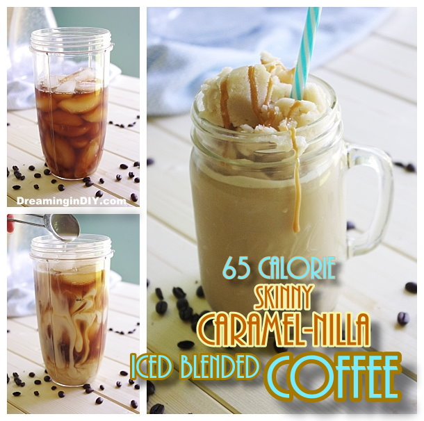 65 Calorie Skinny Caramel Vanilla Blended Iced Coffee Recipe - So frosty - yummy and GUILT FREE