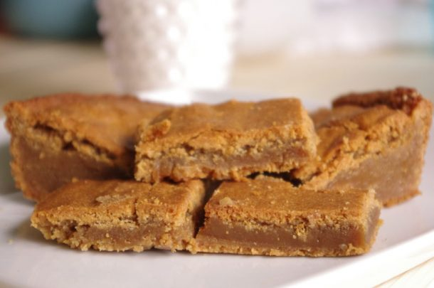 Prison Blondies Blonde Brownies Dessert Treat Recipe Cooled for an hour and cut and served