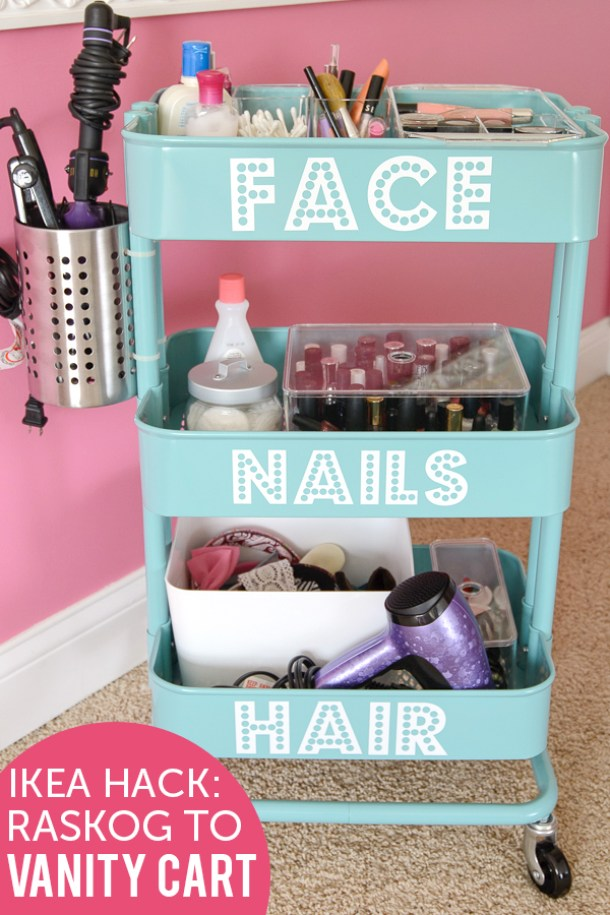 DIY Bathroom Organizer Ideas - Make a really COOL Beauty Tools and accessories organizer - DIY IKEA HACK-RASKOG to Vanity Cart Tutorial via The Polka Dot Chair