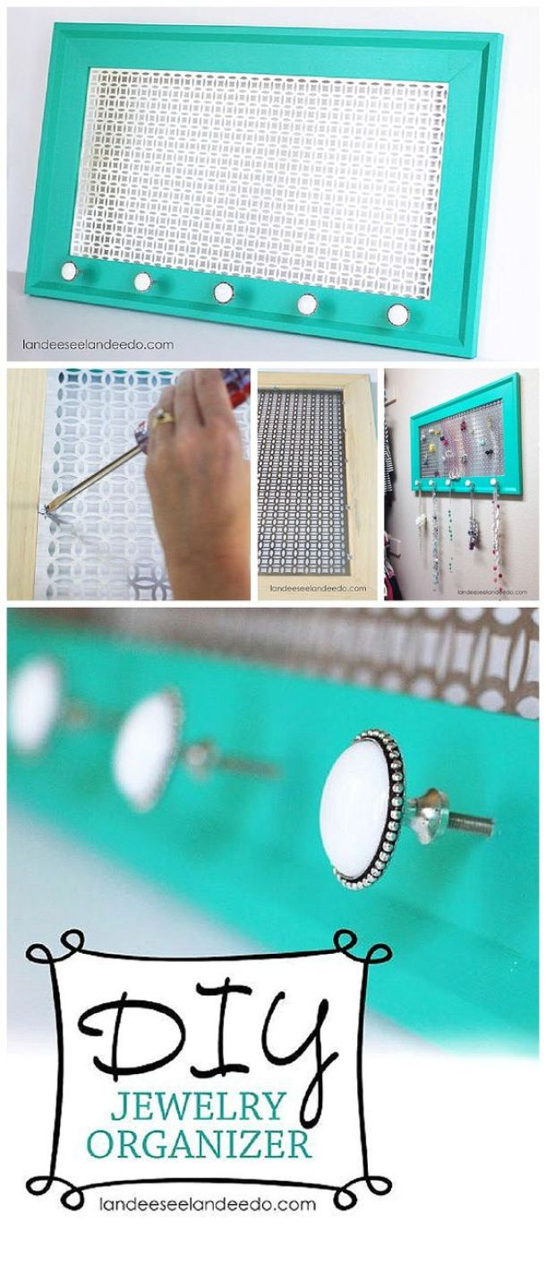 DIY Bathroom Organizer Ideas - Make a really awesome decorative do it yourself organizer that is as pretty as the jewelry itself - easy tutorial via Landeelu