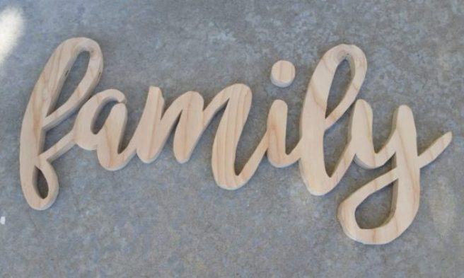 DIY Word Sign - Family Scroll Saw woodworking project and Free Template Carving Pattern