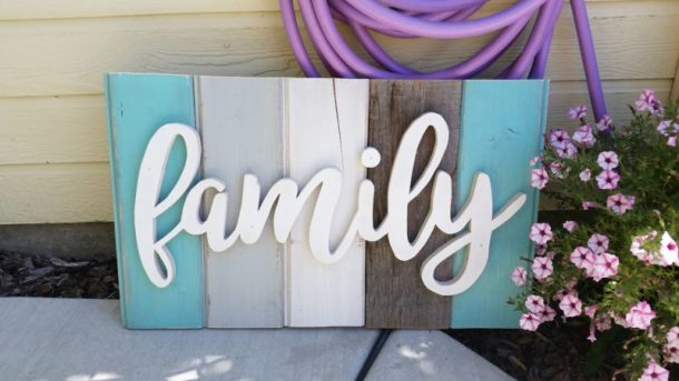 DIY Family Word Art Sign Woodworking Project Tutorial - Turquoise Tones Finished Home Decoration Sign