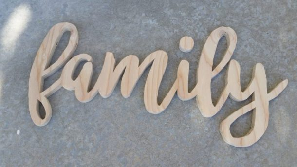 DIY Family Word Art Sign Woodworking Project Tutorial Using Scroll Saw to Cut out Word Art then sand