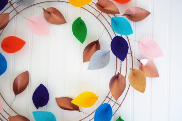 DIY Faux Copper and Felt Leaves Fall Wreath Decoration Tutorial - Finished Wreath Indoors Closeup 2