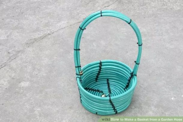 How to Make a DIY Basket from a Garden Hose via Wiki How and lots of Do it Yourself Gift Baskets Ideas for All Occasions -
