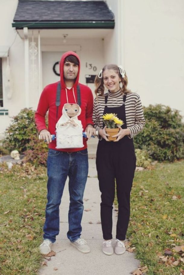 DIY Couples Halloween Costume Ideas - Adorable Elliot and Gertie Characters from the movie E.T. via Redbook Mag