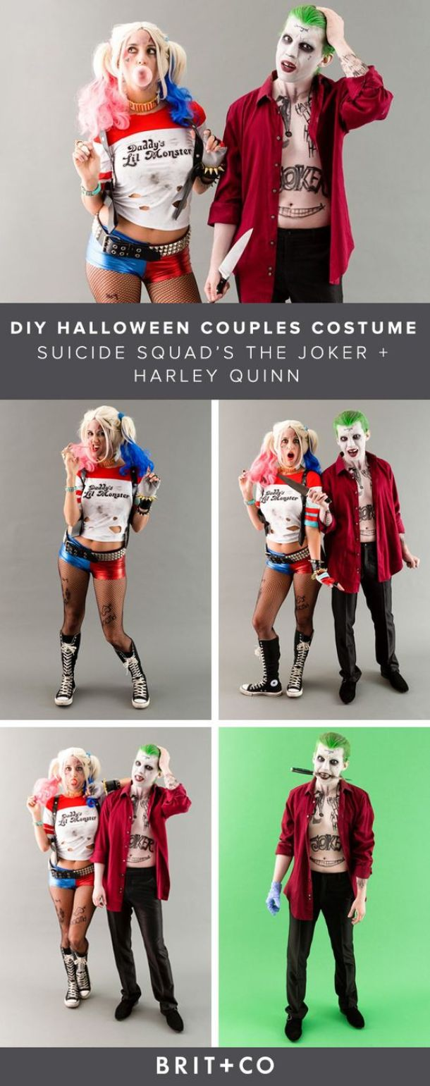 DIY Couples Halloween Costume Ideas - Harley Quinn and the Joker Handmade Costumes from The Movie Suicide Squad via Brit and Co