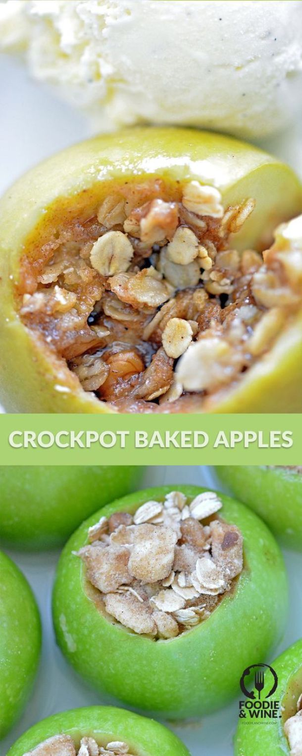 Easy hands-off Crock Pot recipe for the whole family. Perfect for fall or the holidays! Slow Cooker Baked Apples Recipe | Foodie & Wine