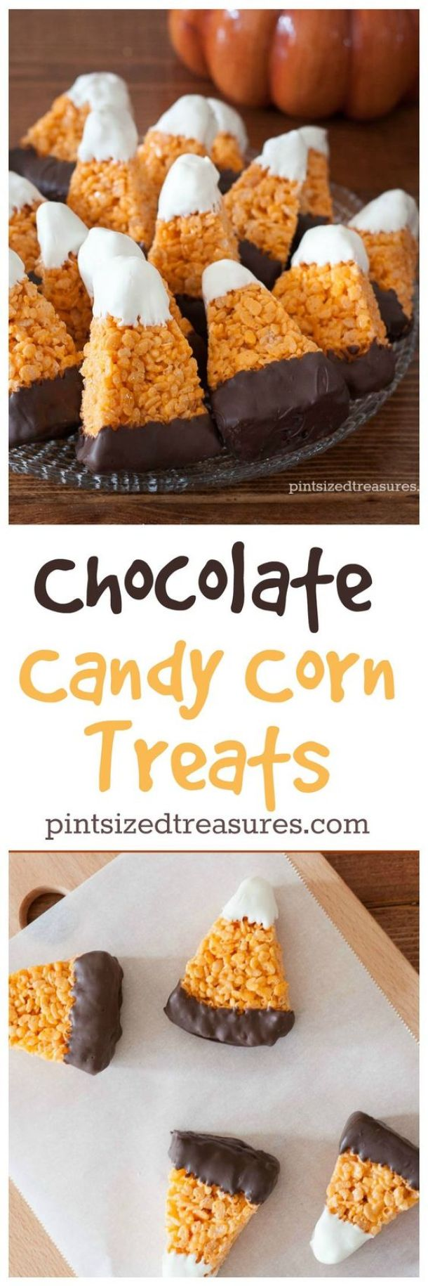 Halloween Party Treats Appetizers and Desserts Recipes - Chocolate Dipped Candy Corn Rice Krispies Treats Recipe via PInt-Sized Treasures