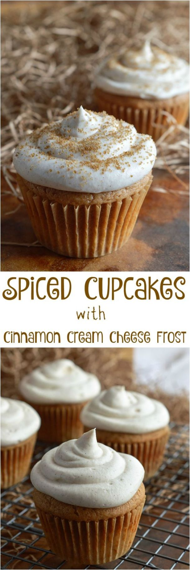 Spiced Cupcakes with Cinnamon Cream Cheese Frosting Recipe | Wonky Wonderful