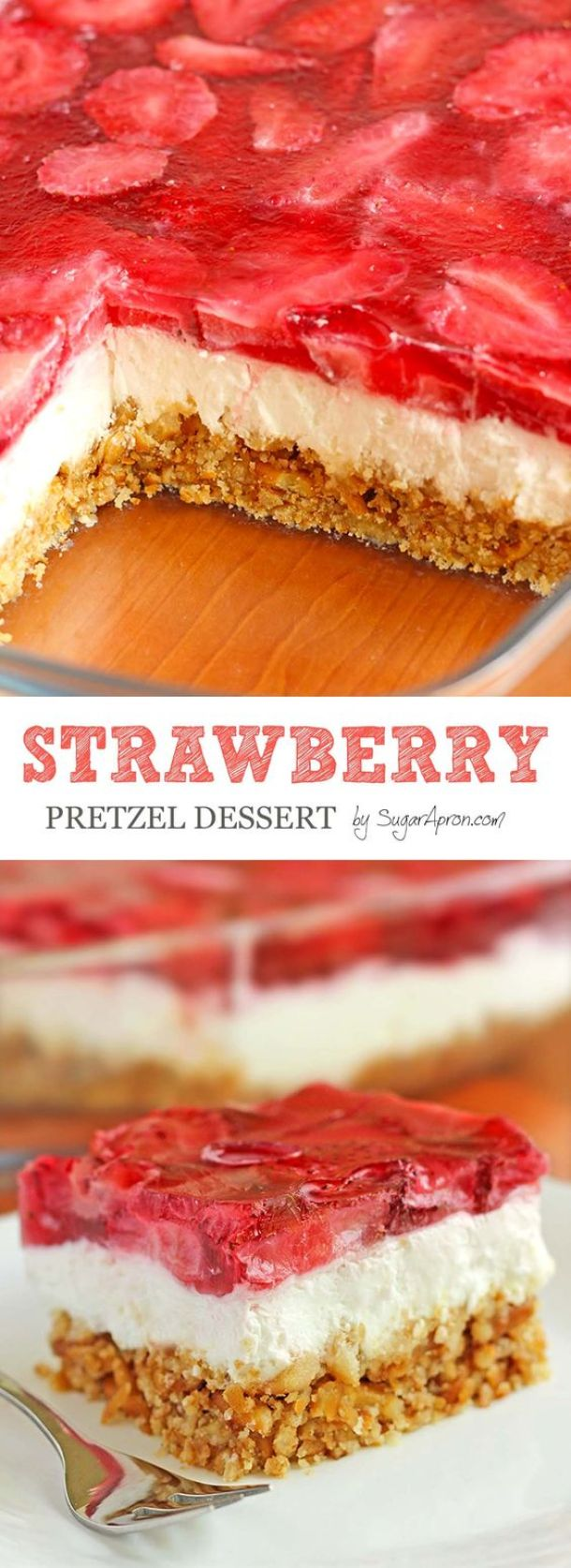 Strawberry Pretzel Dessert Recipe | Sugar Apron - The BEST Classic, Improved and Traditional Thanksgiving Dinner Menu Favorites Recipes - Main Dishes, Side Dishes, Appetizers, Salads, Yummy Desserts and more!