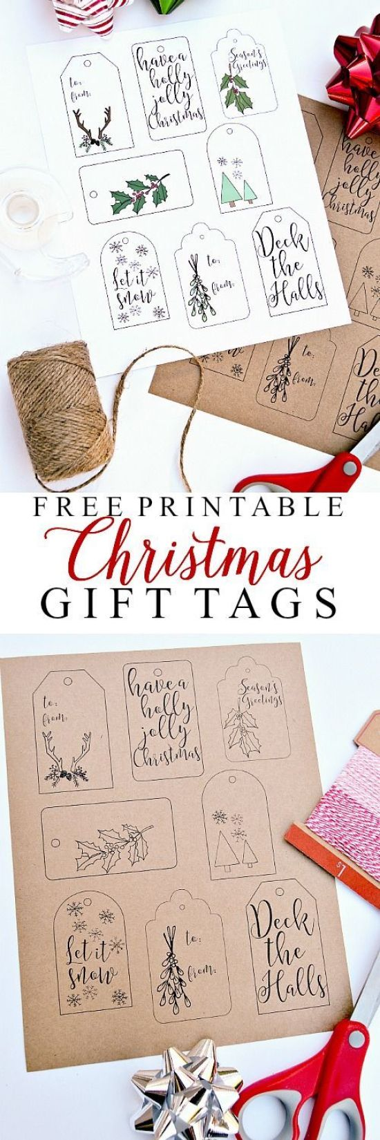 Free Printable Christmas Gift Tags | Ella Claire Inspired