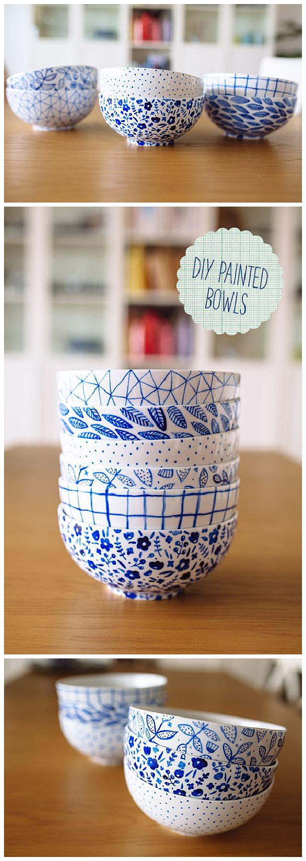 These would make the prettiest gifts - fill them with homemade baked treats! DIY Painted Bowls Tutorial | fellowfellow