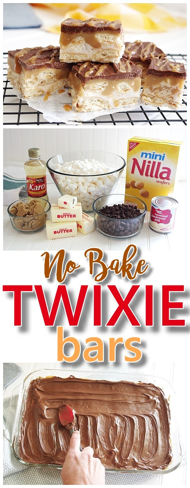 No Bake TWIXIE Cookie Bars – Caramel, Chocolate, Mini Nilla Wafer Cookies – Easy Dessert Treats Recipe via Dreaming in DIY