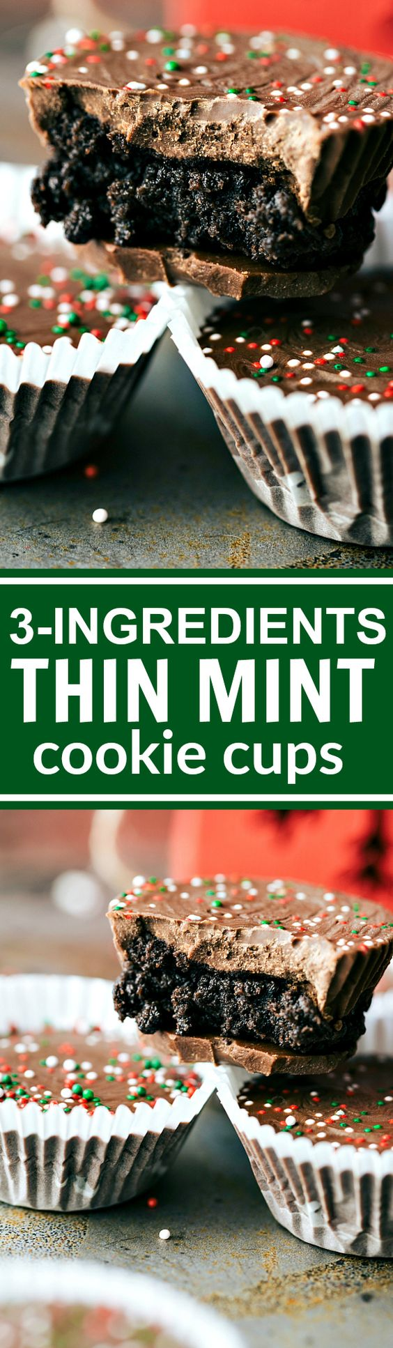 THREE INGREDIENT easy, no-bake Chocolate THIN MINT cups Recipe via Chelsea's Messy Apron - The BEST Christmas Cookies, Fudge, Candy, Barks and Brittles Recipes - Favorites for Holiday Treats Gift Plates and Goodies Bags!