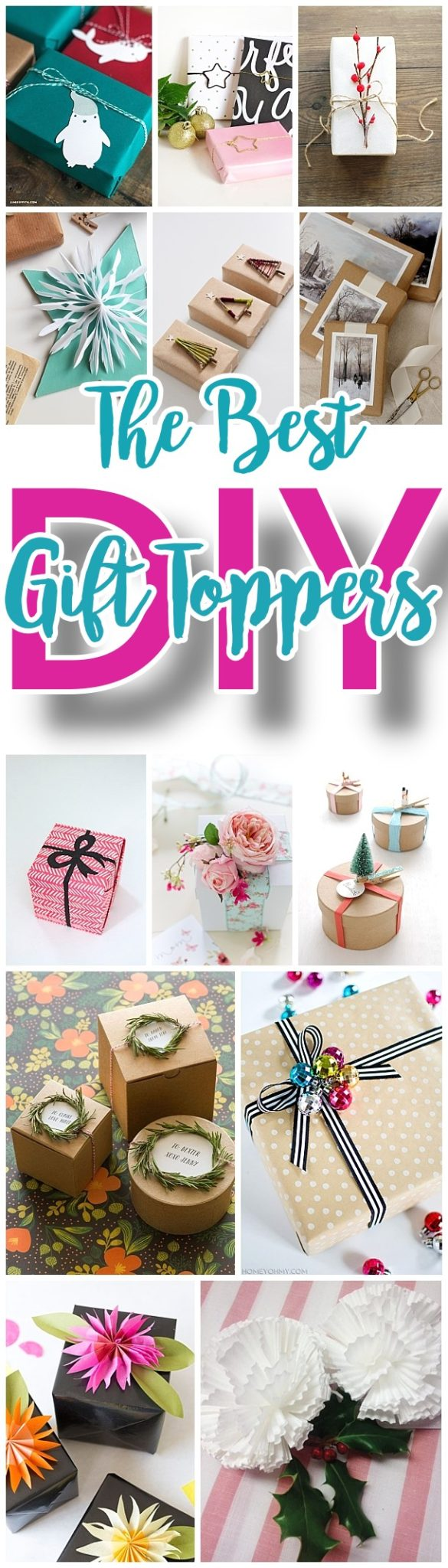 The BEST DIY Gift Toppers - pretty handmade EASY, CHEAP and fun gift wrapping ideas for Christmas Birthdays Holidays and any time you want someone to feel extra special!