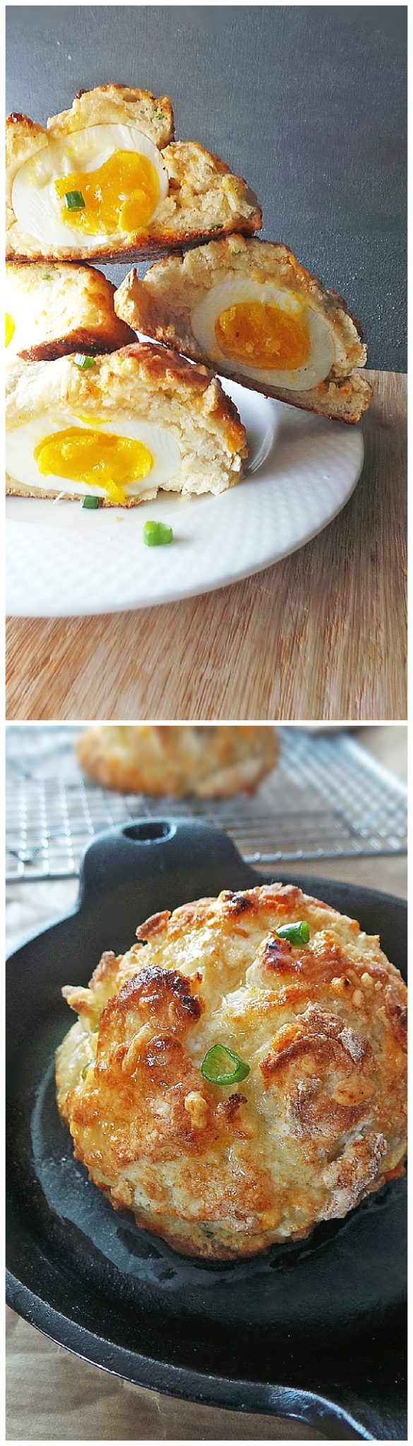 Surprise Cheddar Biscuits with Soft Boiled Egg inside Recipe via Vodka and Biscuits - The Best Homemade Biscuits Recipes - Quick, Easy and Delicious Bread Sides for Breakfast, Brunch, Lunch and Family Dinner!