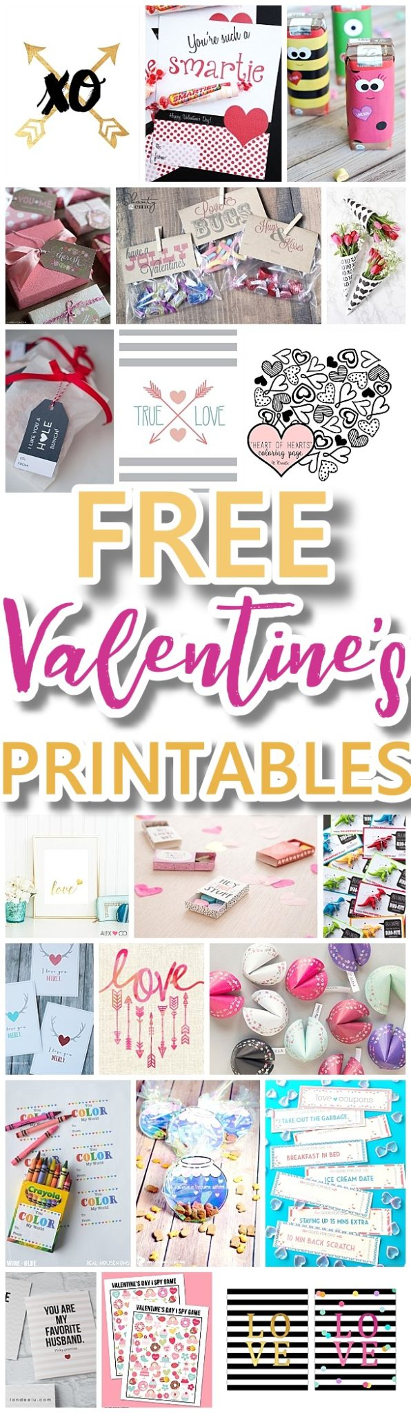 The BEST Valentine's Day FREE Printables - Kids Classmate Cards, Valentine Party Decorations, Hearts, Love, Red and Pink Themed Artwork Home Decor and Holiday Greeting Cards for your Sweethearts! - Dreaming in DIY