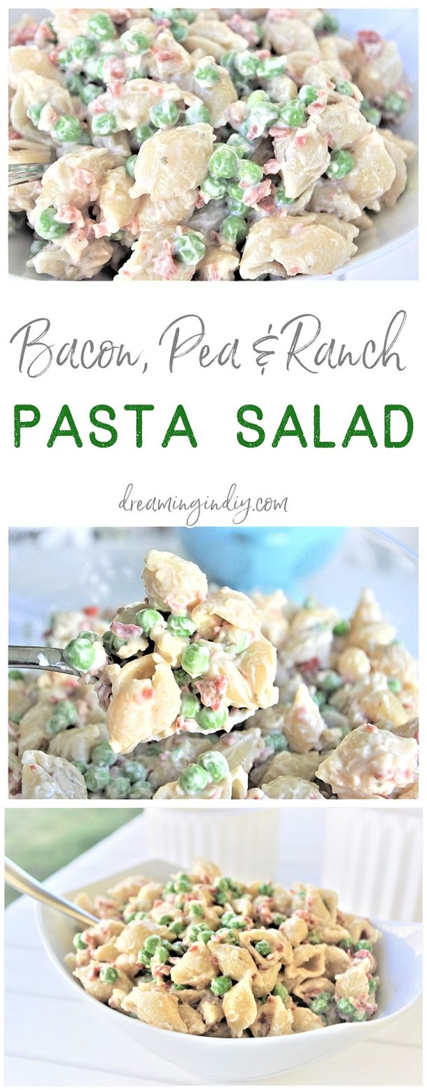 Easy Creamy Bacon Pea and Ranch Pasta Salad Side Dish Recipe Family Favorite - No chopping, dicing or waiting required. Ready in 15 minutes start to finish! SO yummy, quick, simple and perfect for 4th of July picnics, holiday potlucks, summer dinner parties and family barbecues by Dreaming in DIY #pastasaladrecipes #pastasalads #pastasalad #easypastasalad #potluckrecipes #potluck #partyfood #4thofJuly #picnicfood #sidedishrecipes #easysidedishes #cookoutfood #barbecuefood #blockparty