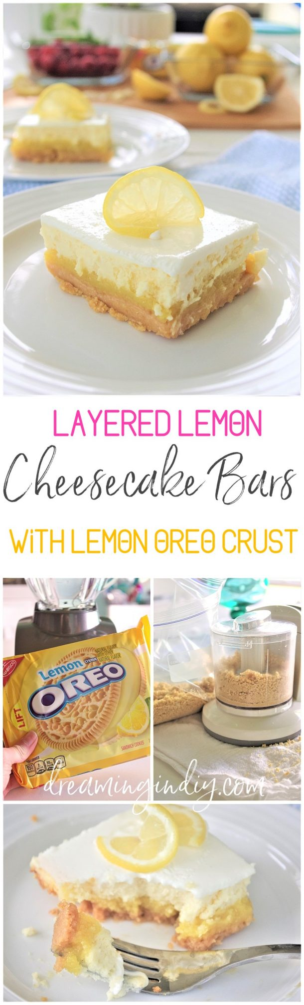 Yummy Lemon Sour Cream Cheesecake Dessert Bars with Lemon Oreo Crust - Easy Layered Treats Recipe by Dreaming in DIY #lemondesserts #lemonrecipes #easylemonrecipes #lemon #lemontreats #easterdesserts #mothersdaydesserts #springdesserts #holidaydesserts #summerdesserts