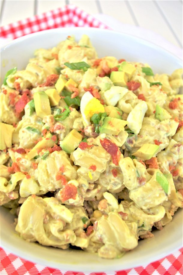 Avocado Egg Bacon Pasta Salad Recipe - Easy and perfect for 4th of July holiday cookouts potlucks and barbecues