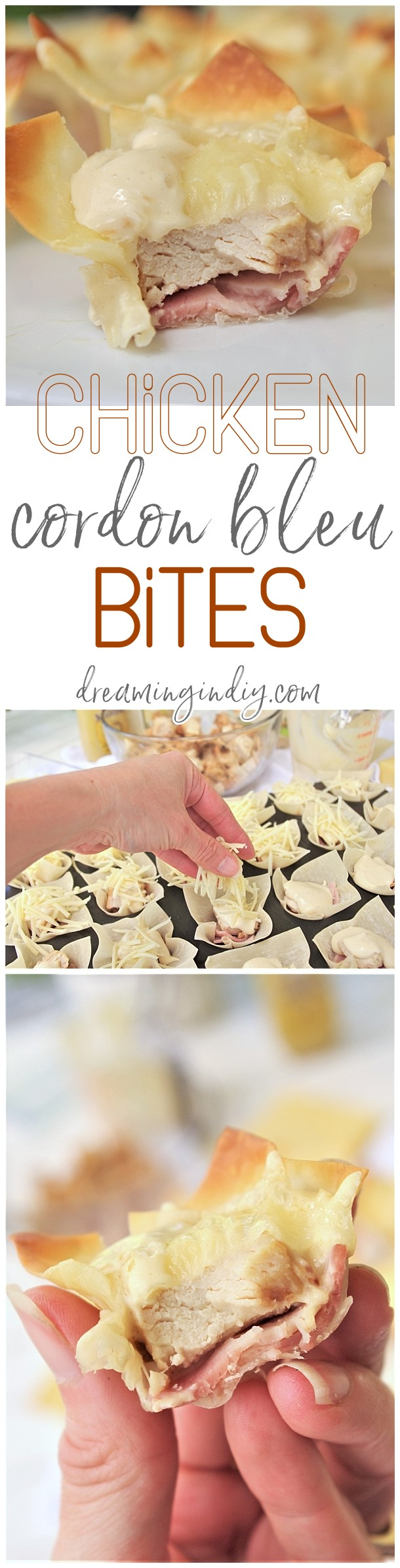 Chicken Cordon Bleu Cups Appetizer Recipe - tailgating fan favorite party finger foods! So easy and delicious. Perfect for parties and celebrations of any kind. via Dreaming in DIY