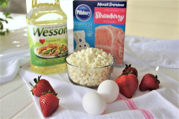 Strawberry White Chocolate Cookies Recipe with fresh baked diced strawberries ingredients via Dreaming in DIY