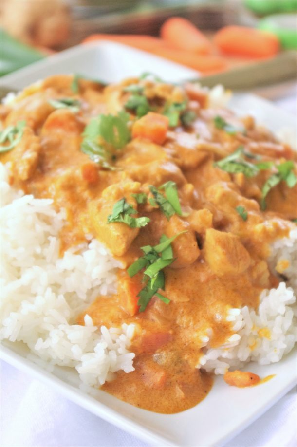 The BEST Easy CrockPot Coconut Curry Chicken Dinner Recipe - Yummy Flavorful Slow Cooker Family Meal by Dreaming in DIY