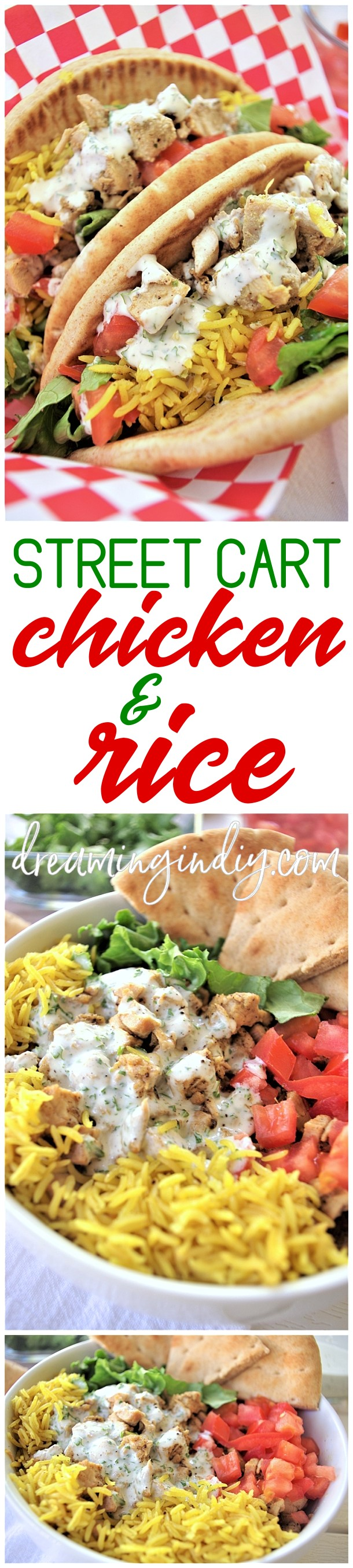 Easy and Delicious Street Cart Mediterranean Chicken and Rice Bowls or Pitas Sandwich Quick and Simple Recipes via Dreaming in DIY #chickenrecipes #popularchickenrecipes #chicken #easychickenrecipes #chickenbreastrecipes #easylunches #easydinners #simplefamilymeals #simplefamilyrecipes #simplerecipes