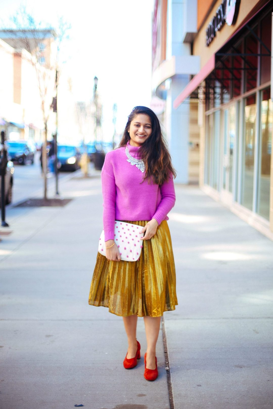shein-yellow-pleated-a-line-skirt-How to dress up gold pleated midi skirt