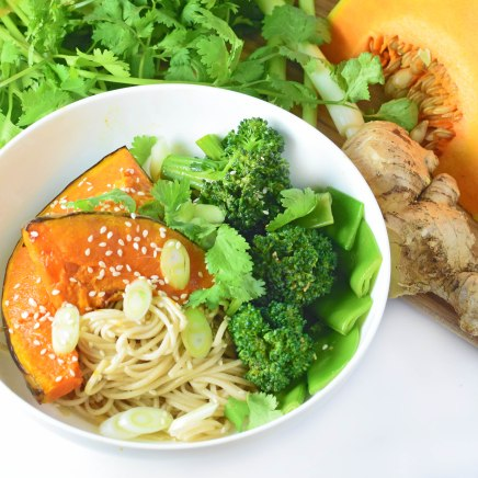 roast pumpkin with buckwheat noodles