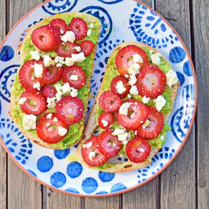 Strawberry and avocado toastie